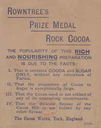 Advert for Rowntree's Rock Cocoa, reverse side